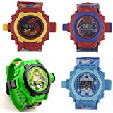 Shanti Enterprises Doraemon,Ben 10,Angey Bird,Spiderman 24 Images Projector Watch (Set Of 4)