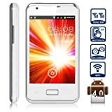Unlocked Quadband Dual Sim Android 4.0 OS With 3.5 Inch Capacitive Touch Screen GSM Smart Phone - AT&amp;T, T-mobile, H20, Simple mobile and other GSM networks (White)