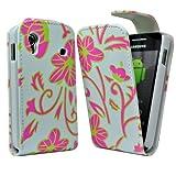 Accessory Master 5055403893020 - Funda de piel con tapa para Samsung Galaxy Ace S5830, diseño de flores, color rosa y verde