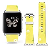 Iwatch Band Leather,Genuine Leather Apple Watch Strap Replacement 38Mm Beautiful Yellow Background With White...