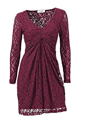 Linea Tesini Damen-Kleid Spitzenkleid Rot Größe 38