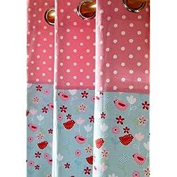 Homescapes Kindervorhang Mädchen Kinderzimmer Ösenvorhang Dekoschal Birds & Flowers 2er Set pink blau 137 x 228 cm (Breite x Länge je Vorhang) 100% reine Baumwolle