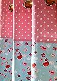 Homescapes Kindervorhang Mädchen Kinderzimmer Ösenvorhang Dekoschal Birds & Flowers 2er