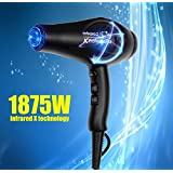 JINRI JR-104A 1875W  Negative Ionic Ceramic Hair Dryer with Styling Concentrator Nozzle and Diffuser 2 Speeds 3 Heat Settings Cold Shot Button CETL Certified (Black)