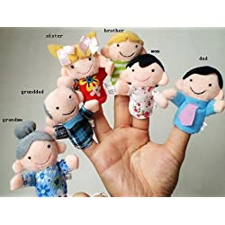 [Best price] Stuffed Animals & Plush - 6 Pc Soft Plush My family Finger Puppet Set Includes Grandma Granddad Sister Brother Mom Dad - toys-games