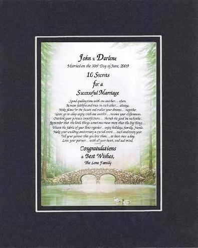 Personalized Touching And Heartfelt Poem For Wedding - 10 Secrets For A Successful Marriage . . . Poem On 11 X 14 Inches Double Beveled Matting (Black On Black) front-979198