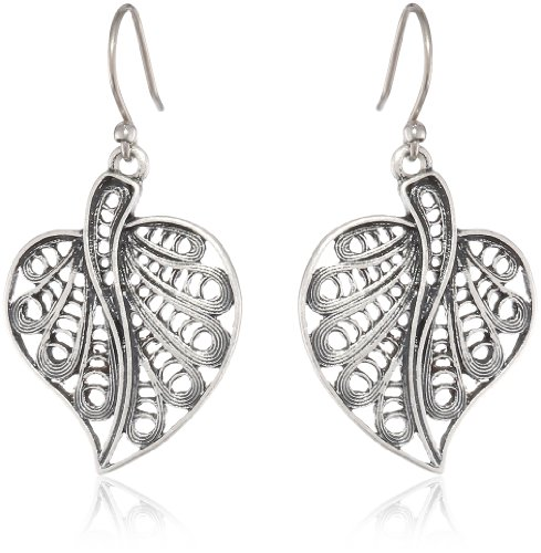 Lucky Brand Silver Leaf Drop Earrings