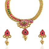 Violet and Purple Alloy Gold Plated Choker Necklace Set for Women (1000031135)
