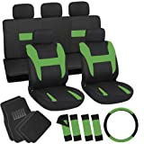OxGord 21pc Black & Green Flat Cloth Seat Cover and Carpet Floor Mat Set for the Ford Mustang Convertible, Airbag Compatible, Split Bench, Steering Wheel Cover Included