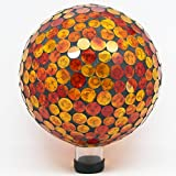 Alpine GRS118 Mosaic Gazing Ball, 10-Inch, Red/Yellow