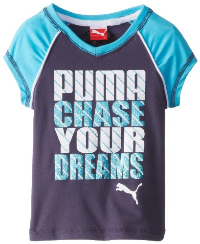 Puma Little Girls' Chase Your Dreams Tee, Grey Cooler, 4T front-701017