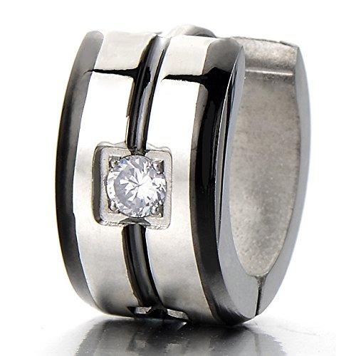 2 anneau boucle d oreille charni re avec zircone cubique cr oles pour homme femme acier. Black Bedroom Furniture Sets. Home Design Ideas