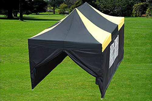 10'x15' Pop Up 4 Wall Canopy Party Tent EZ Black/Yellow - F Model Upgraded Frame By DELTA Canopies