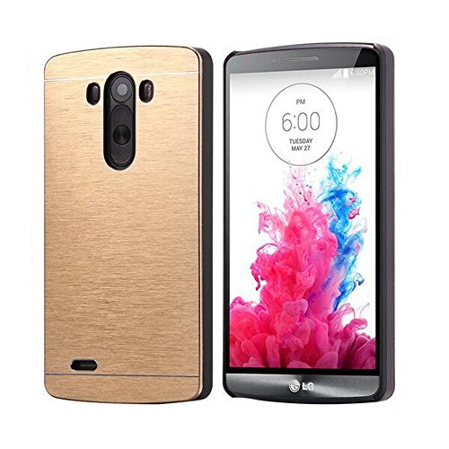 LG G3 Vigor/G3 Mini/G3 Beat Case, Ranyi [Brushed Aluminum] [and Screen Protector] [Metal Trame] Rugged Hard Back Cover Slim Armor Case for LG G3 Vigor / G3 Mini / G3 Beat/ G3s D725 D722 (gold) (Lg G3 Beat Gold compare prices)