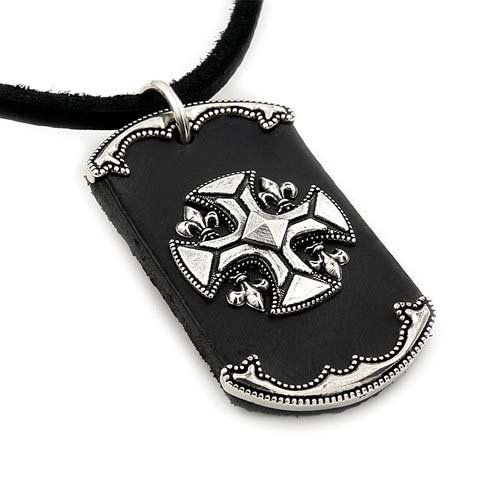 Black Leather Dog Tag With 925 Sterling Silver Fleur-De-Lis Cross