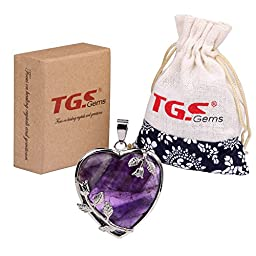 TGS Gems® Vogue Amethyst Tumbled Chakra Gemstone Cover Alloy Heart-Shaped With Flower Edge Pendant
