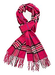 Plum Feathers Super Soft Luxurious Cashmere Feel Winter Scarf (Berry Plaid)