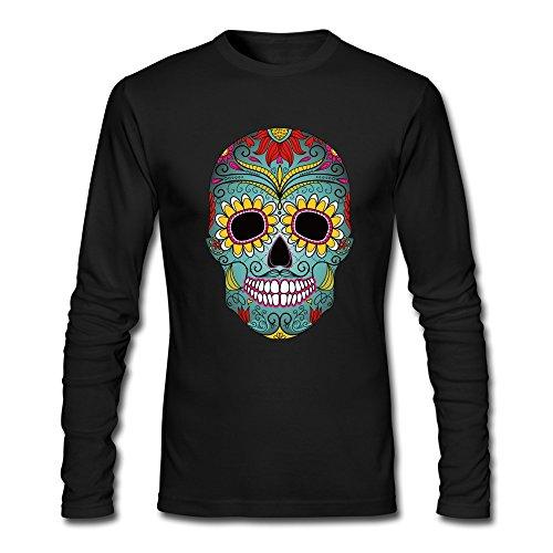 [Men's Sugar Skull Day Of The Dead T Shirt Long Sleeve Black] (Calvin And Hobbes Couple Costume)