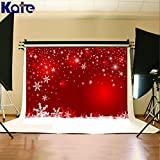 7x5ft Red Christmas Background Wall Christmas Snowflake Backdrop Photography Kate HJ02486
