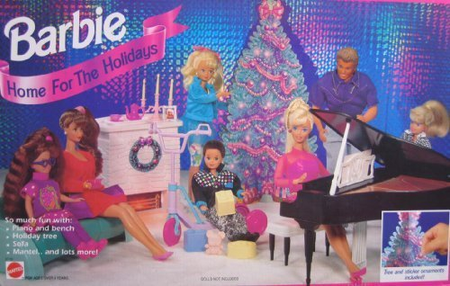Barbie-Home-For-The-Holidays-Playset-w-Tree-Sticker-Ornaments-1994-Arcotoys-Mattel-by-Arcotoys-Mattel