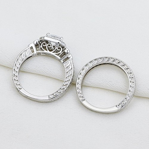 Newshe Vintage Bridal Set Princess White Cz 925 Sterling Silver Wedding Engagement Ring Set Size 7