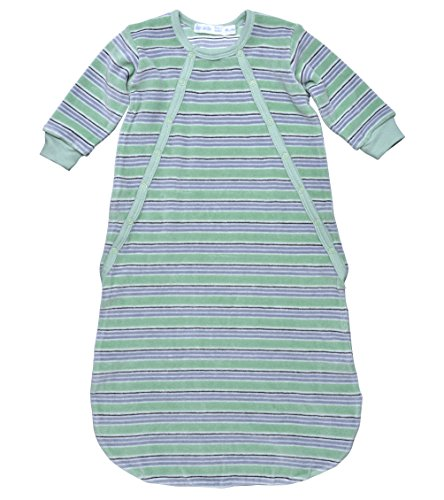 Under The Nile Apparel Unisex-Baby Newborn Velour Stripe Bunting Sack, Green/Gray, 0-6 Months front-889938