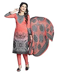 Nazaquat Grey Printed Crepe Unstitched Dress Material