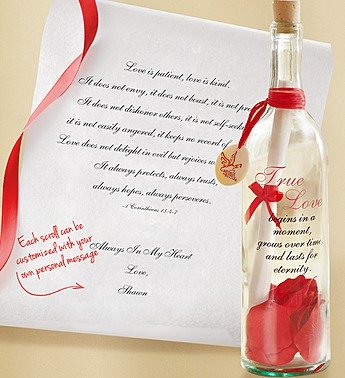 1-800-Flowers - Personalized Message In A Bottle True Love - Love Is Patient... front-633793