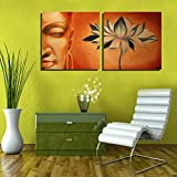 2 Painting Sets Of Buddha With Lotus Meditation Canvas Oil Painting Print With Wooden Mounting | Printasia CANVAS...