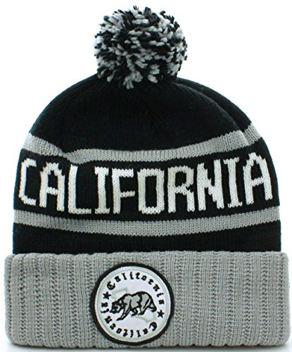 California Republic Bear Cuff Pom Pom Beanie Knit Hat Cap - Many Colors (Adult One Size, Black Gray)