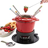 Home - VonShef Fondue Gift Set Stylish Red Cast Iron Enamelled - Perfect for All Styles of Fondue