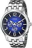 GUESS Men's U0252G2 On Time Stainless Steel Sport Watch With  Blue Dial
