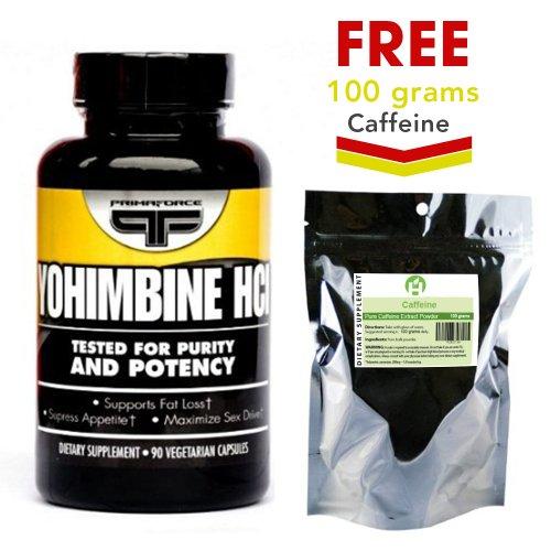 Primaforce Yohimbine HCL 90 Capsules + FREE 100 grammes de poudre caféine pure