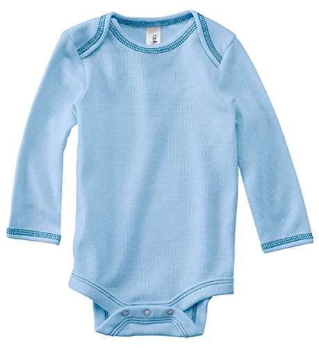 Bella Infants Long-Sleeve Thermal One-Piece, Baby Blue/Navy, 3 - 6 Months front-961968