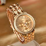 Geneva Luxury Rose Gold Classic Round Crystal Ladies Watch