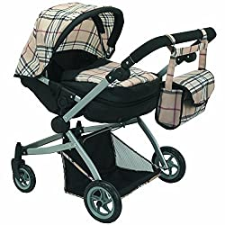 Babyboo Deluxe Twin Doll Pram/Stroller Beige Plaid & Black With Free Carriage Bag (Multi Function View All Photos) 9651 A