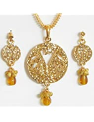 Golden Yellow Stone Studded Pendant With Chain And Earrings - Stone And Metal