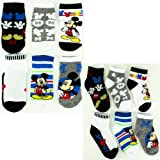 Disney Mickey Mouse Variety 6-Pack Infant & Toddler Socks (4-6, Black - Sport)