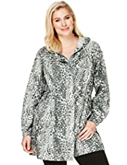 Plus Shower Resistant Hooded Animal Print Parka