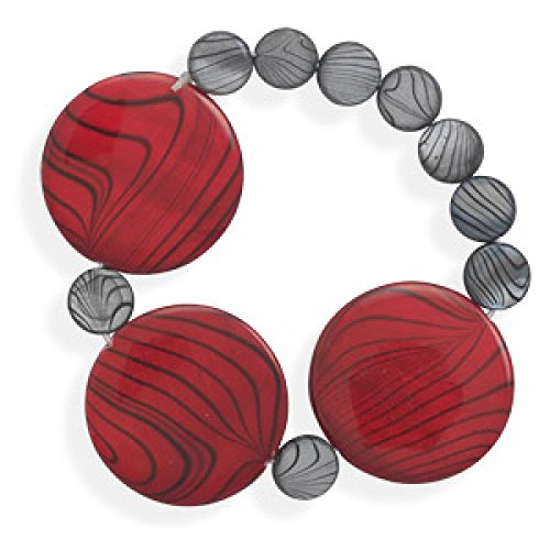 7 Inch Red And Grey Shell Bracelet