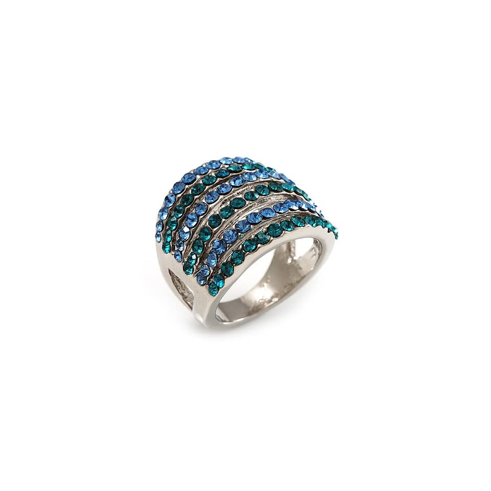 Silver Tone Wide Crystal Band Ring (Light Blue & Teal