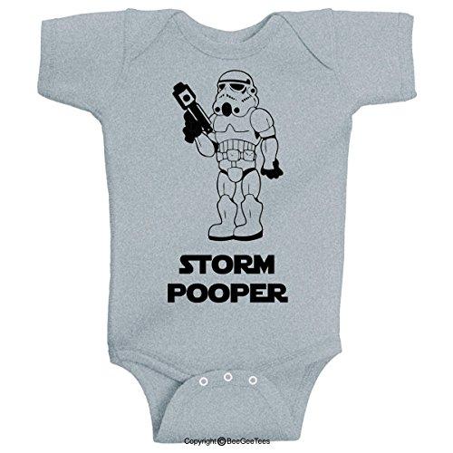Storm Pooper 2 Funny Star Wars Onesie Bodysuit Romper by BeeGeeTees® (6 Months, Gray)