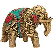 """AapnoCraft Unique Elephant Statue - 9"""" Brass Elephant Sculpture Lucky Elephant With Embossed Lady Figurine Coral..."""