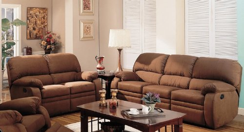 Buy Low Price Coaster 2pc Motion Sofa and Loveseat Set Padded Arms Chocolate Microfiber (VF_Livset-600411-600412)