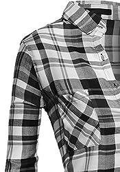 Women's Classic Collar Button Down High Low Plaid Lightweight Flannel Shirt