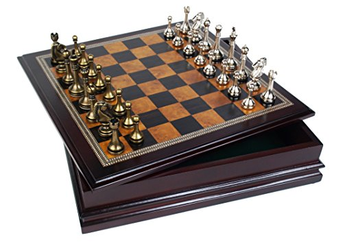 "Metal Chess Set With Deluxe Wood Board and Storage - 2.5"" King 1"