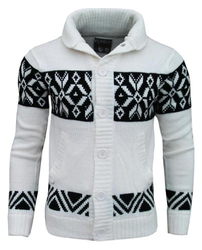Fly Guy Men's Aztec Mason Shawl Neck Fashion Cardigan Jumper off white / black Large