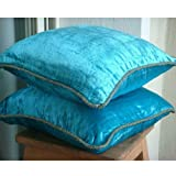 Turquoise Shimmer - 24x24 inches Square Decorative Throw Turquoise Velvet Sham Covers with Handmade Bead Border