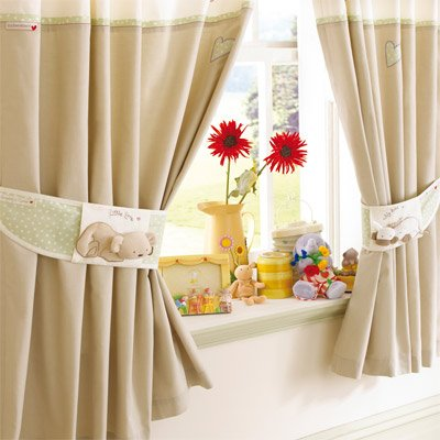Izziwotnot Humphrey's Corner Humphrey's Bedtime Tab Top Curtains, 132 x 163 Cm
