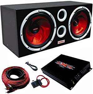 "XXX Car Audio Pair 12"" Subs/Car Amp Kit/Sub Box by Audiopipe"